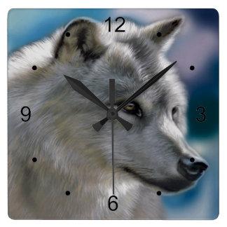 Relógio Quadrado Lobo solitário no selvagem