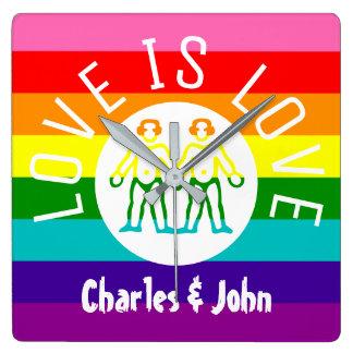 Relógio Quadrado Logotipo alegre do arco-íris do orgulho LGBT do