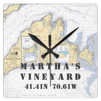 Relógio Quadrado Longitude náutica da latitude: Martha's Vineyard,