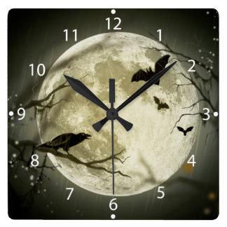 Relógio Quadrado Lua do Dia das Bruxas - ilustração da Lua cheia