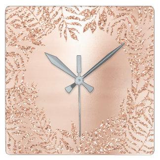 Relógio Quadrado Lux botânico do metal da palma metálica do ouro do