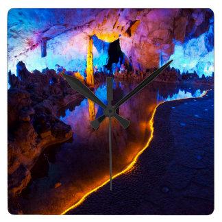 Relógio Quadrado Luzes na caverna de lingüeta da flauta, China