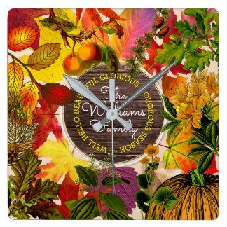 Relógio Quadrado Madeira do vintage do monograma da colagem da