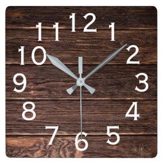 Relógio Quadrado Madeira escura de vista autêntica