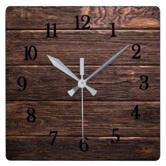 Relógio Quadrado Madeira resistida rústica de vista autêntica