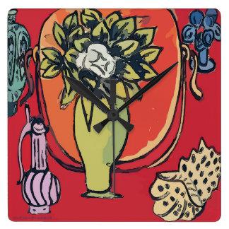 Relógio Quadrado Magnólia no vaso, após Matisse