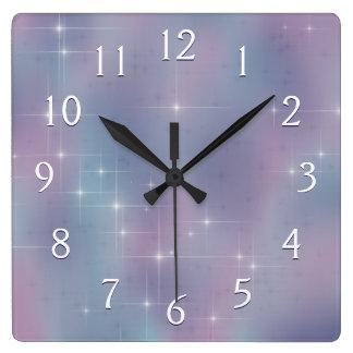 Relógio Quadrado Malva estrelado e cerceta
