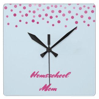 Relógio Quadrado Mamã cor-de-rosa de Homeschool dos confetes