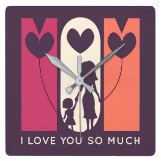 Relógio Quadrado Mamã, eu te amo tanto