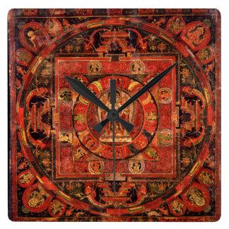Relógio Quadrado Mandala budista da piedade