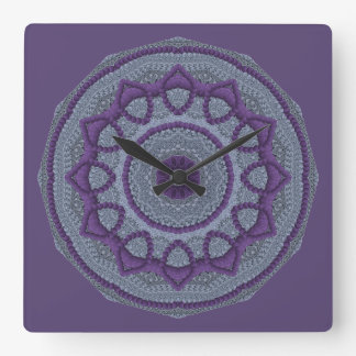 Relógio Quadrado Mandala cinzenta roxa