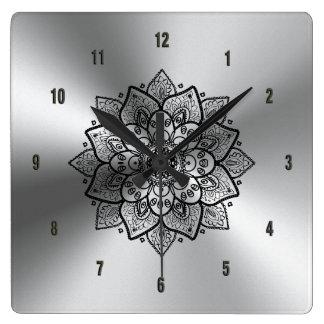 Relógio Quadrado Mandala de aço inoxidável & preta metálica