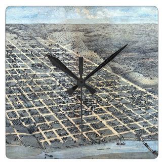 Relógio Quadrado Mapa aéreo antigo de Austin, Texas da cidade, 1873