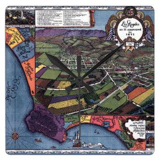 Relógio Quadrado Mapa antigo, cidade aérea de Los Angeles