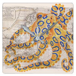 Relógio Quadrado Mapa azul do polvo do anel