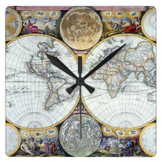 Relógio Quadrado Mapa do mundo antigo, atlas Maritimus pelo