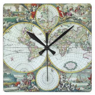 Relógio Quadrado Mapa do mundo antigo do século XVII, Frederick De