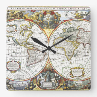 Relógio Quadrado Mapa do mundo antigo por Hendrik Hondius, 1630