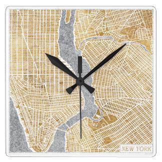 Relógio Quadrado Mapa dourado da cidade de New York