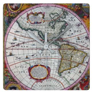 Relógio Quadrado Mapas velhos de América