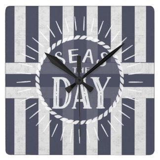 Relógio Quadrado Mares náuticos o tema de Carpe Diem do dia