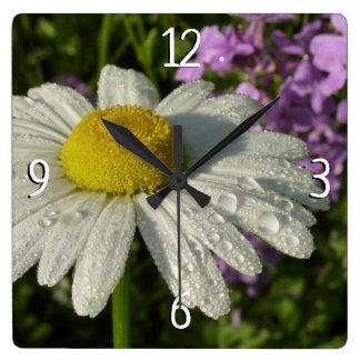 Relógio Quadrado Margarida e Lilac do verão