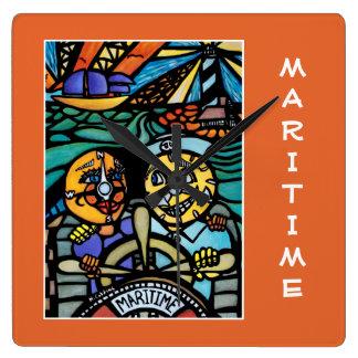 Relógio Quadrado Marítimo na laranja - partes do tempo