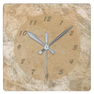 Relógio Quadrado Mármore abstrato do falso de Brown