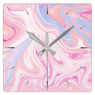 Relógio Quadrado Mármore alaranjado azul colorido elegante do rosa
