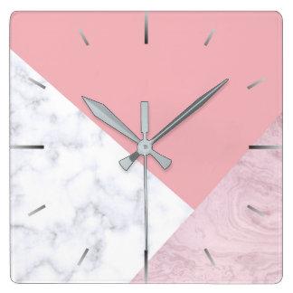Relógio Quadrado mármore branco do rosa pastel do pintinho elegante