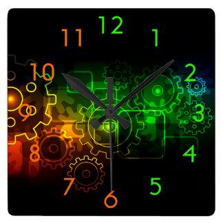 Relógio Quadrado Mecânicos das rodas denteadas na laranja verde