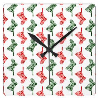 Relógio Quadrado Meias do Natal de Paisley