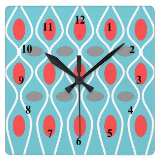 Relógio Quadrado Meio século moderno, esferas das ondas, azul,