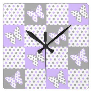 Relógio Quadrado Menina cinzenta cinzenta roxa da edredão das