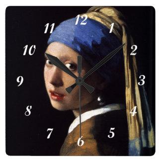 Relógio Quadrado Menina de Johannes Vermeer com um brinco da pérola