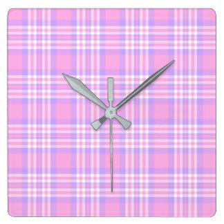 Relógio Quadrado Menina de verificação roxa cor-de-rosa do guingão