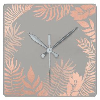 Relógio Quadrado Metal botânico da palma cinzenta metálica do ouro