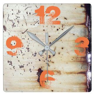 Relógio Quadrado Metal branco oxidado customizável