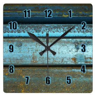 Relógio Quadrado Metal oxidado resistido áspero do azul e da