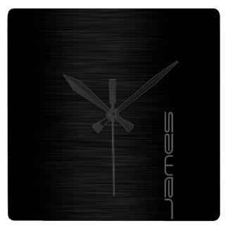 Relógio Quadrado metal perfurado elegante escuro personalizado pelo