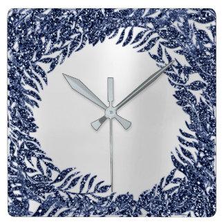 Relógio Quadrado Metálico azul tropical do marinho da palma floral