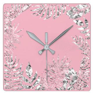 Relógio Quadrado Metálico botânico da palma Pastel do rosa das