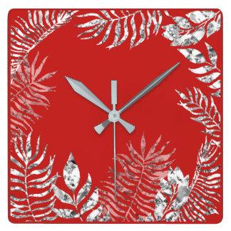 Relógio Quadrado Metálico botânico da palma vermelha brilhante das