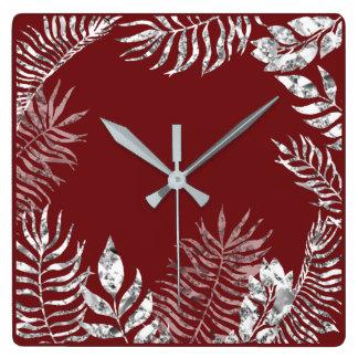 Relógio Quadrado Metálico botânico da palma vermelha de Borgonha
