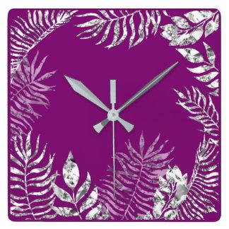 Relógio Quadrado Metálico botânico violeta roxo de PPalm das cinzas