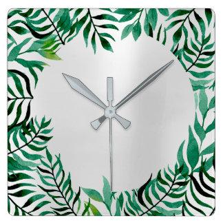 Relógio Quadrado Metálico verde tropical da palma floral do cinza