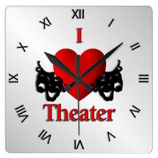 Relógio Quadrado Mim numerais romanos do teatro do coração