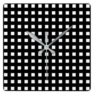 Relógio Quadrado Mini preto dos quadrados brancos