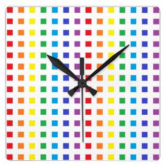 Relógio Quadrado Mini quadrados do arco-íris