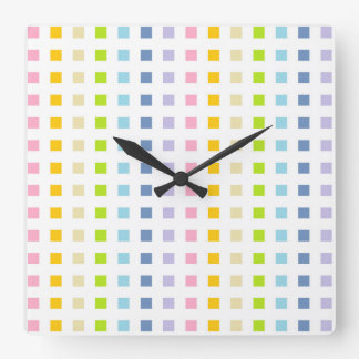 Relógio Quadrado Mini quadrados Pastel do arco-íris
